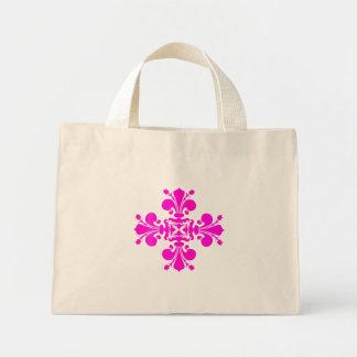 Motif girly de damassé de fleur de lis de roses in sac en toile mini