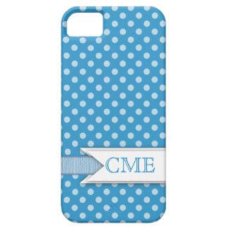 Motif Girly de Polkadot avec le blanc du bleu   de Coque iPhone 5