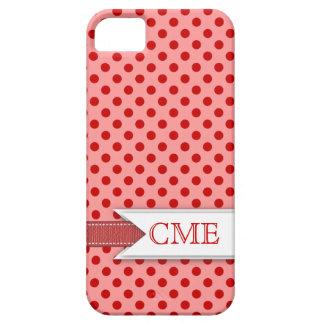 Motif Girly de Polkadot avec le rouge du rose   de Étui iPhone 5