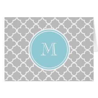 Motif gris de Quatrefoil, monogramme bleu Carte De Correspondance