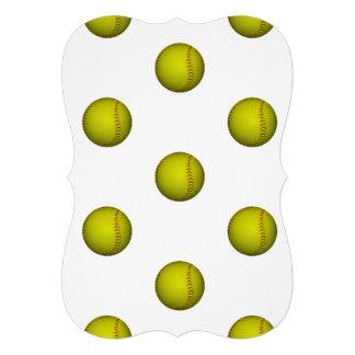 Motif jaune au néon du base-ball invitations
