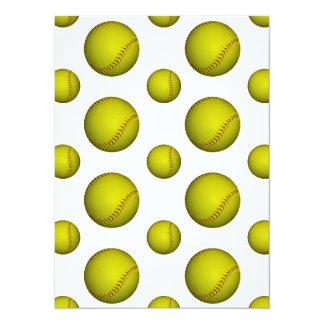 Motif jaune du base-ball/base-ball carton d'invitation  13,97 cm x 19,05 cm