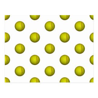 Motif jaune lumineux du base-ball cartes postales