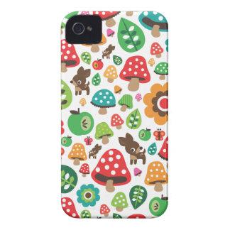 Motif mignon d'enfants avec le champignon de cerfs coques iPhone 4 Case-Mate