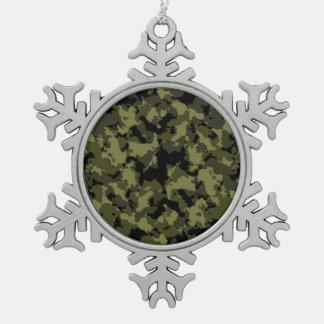 Motif militaire de style de camouflage ornement flocon de neige pewter