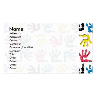 Motif multicolore de handprints modèles de cartes de visite
