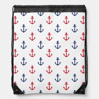 Motif nautique bleu rouge blanc d'ancre sac avec cordons