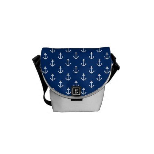 Motif nautique d'ancre de bleu marine sacoches