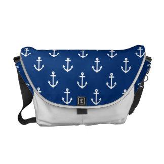 Motif nautique d'ancre de bleu marine sacoche