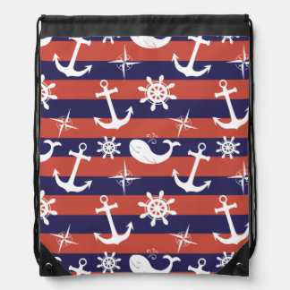 Motif nautique de rayures de bleu marine et de sac à dos