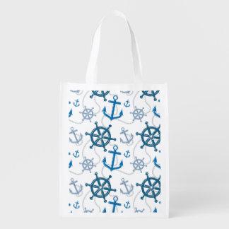 Motif nautique sacs d'épicerie réutilisables