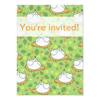 Motif niché mignon de poulets carton d'invitation  13,97 cm x 19,05 cm