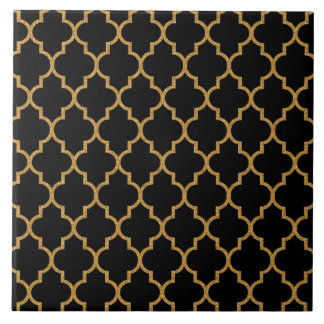 Motif noir de Quatrefoil d'or Grand Carreau Carré