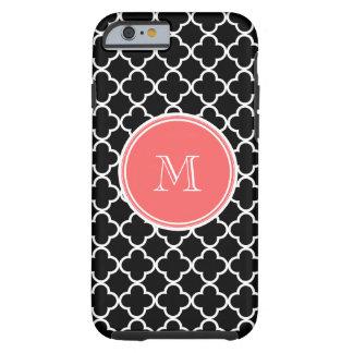 Motif noir de Quatrefoil, monogramme de corail Coque iPhone 6 Tough