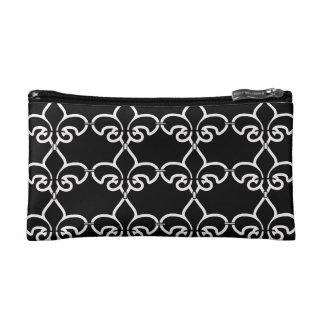 Motif noir de White Fleur de Lis Chain Trousse De Toilette