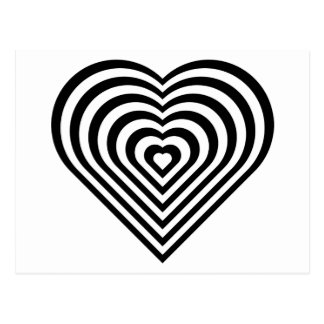 Motif noir et blanc de coeur cartes postales