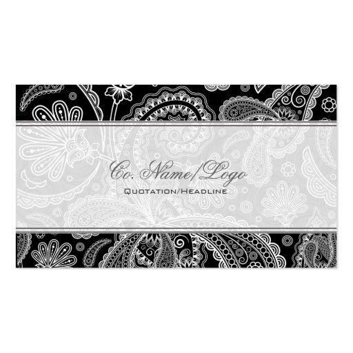 Motif noir et blanc de Paisley Cartes De Visite Professionnelles