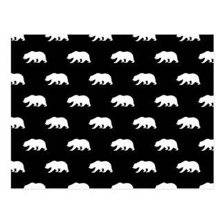 Motif noir et blanc d'ours gris carte postale