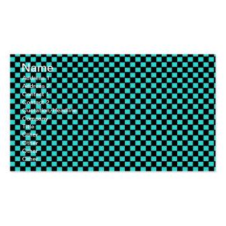 Motif noir vert de damier cartes de visite personnelles