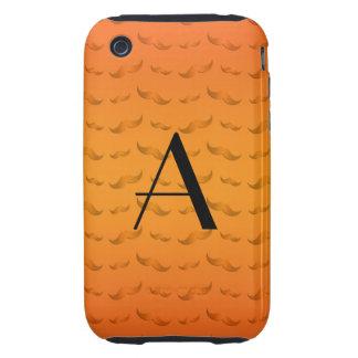 Motif orange brillant de moustache de monogramme étuis iPhone 3 tough
