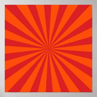 Motif orange de rayons de Sun d éclat de Sun Posters