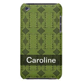 Motif personnalisé d'art déco de vert olive étuis iPod touch