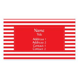 Motif rayé rouge et blanc carte de visite