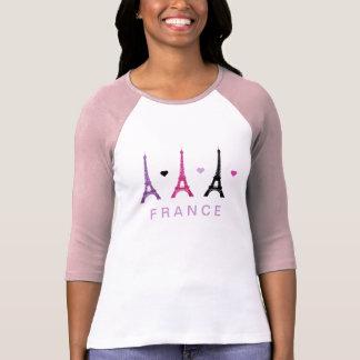 Motif rose et pourpre de Tour Eiffel T-shirt