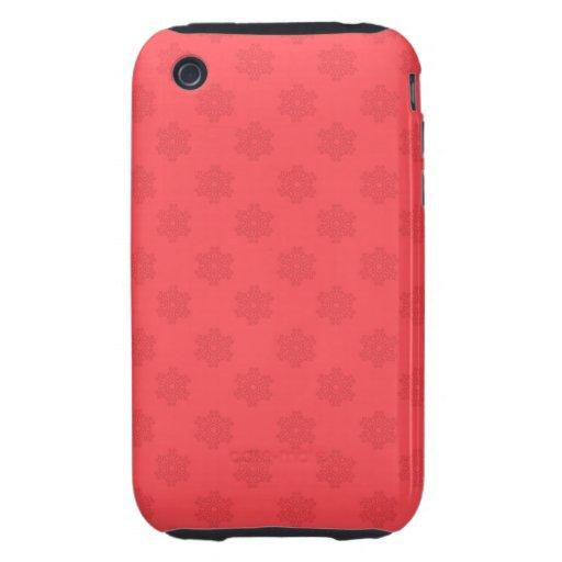 Motif rouge-clair de flocons de neige coque tough iPhone 3