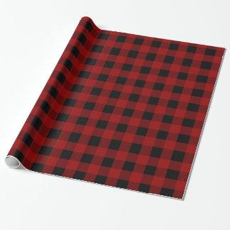 Motif rouge de guingan de contrôle de Buffalo Papier Cadeau Noël