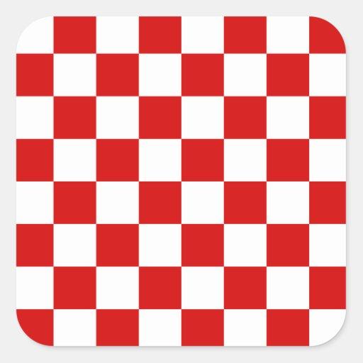 Motif rouge et blanc de contrôleur autocollant carré