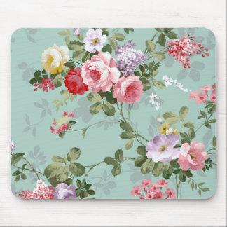 Motif rouge-rose élégant vintage de roses tapis de souris