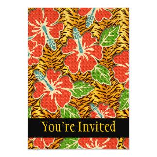 Motif sauvage de tigre de fleurs tropicales carton d'invitation  12,7 cm x 17,78 cm