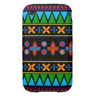 Motif tribal aztèque d arc-en-ciel noir étui iPhone 3 tough