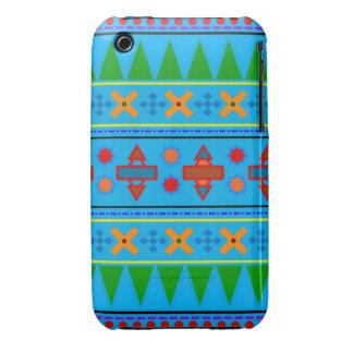Motif tribal aztèque de bleu de ciel d arc-en-ciel coques iPhone 3