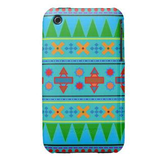 Motif tribal aztèque de turquoise d'arc-en-ciel étui iPhone 3