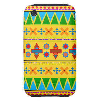 Motif tribal aztèque jaune d arc-en-ciel coques tough iPhone 3