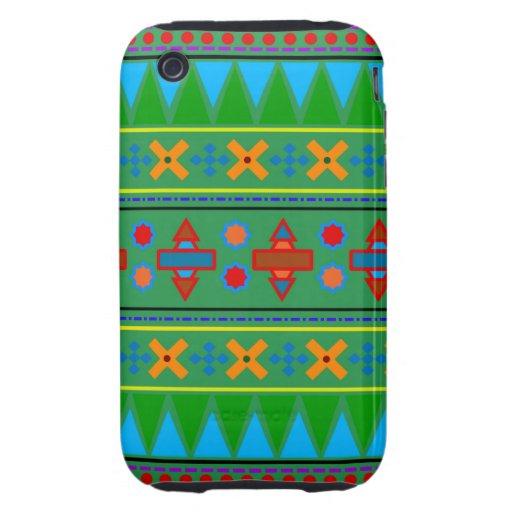 Motif tribal aztèque vert d'arc-en-ciel coques iPhone 3 tough