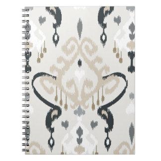 Motif tribal d'ikat blanc noir beige moderne chic carnet