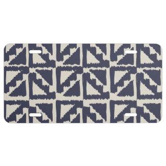 Motif tribal en ivoire de triangle d'Ikat Plaque D'immatriculation