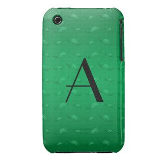 Motif vert brillant de moustache de monogramme étui iPhone 3