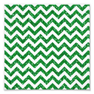 Motif vert de Chevron de scintillement Photo D'art