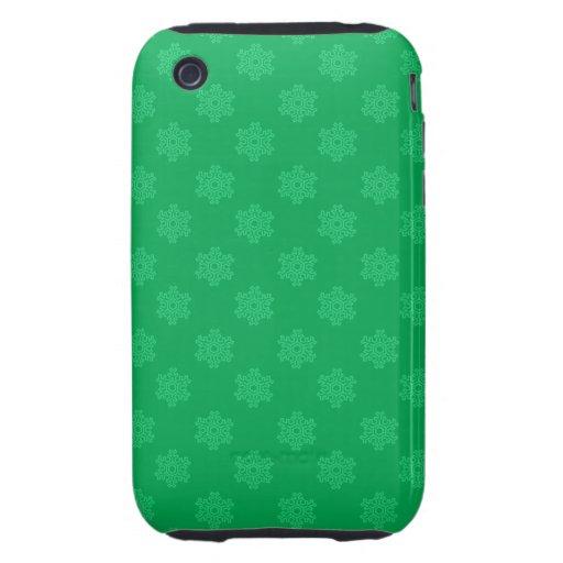 Motif vert de flocons de neige étuis iPhone 3 tough