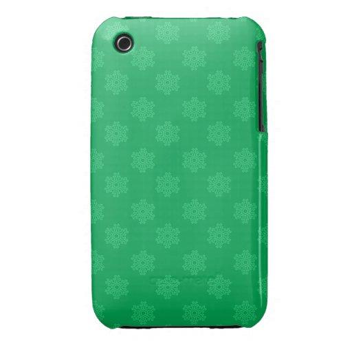 Motif vert de flocons de neige étui iPhone 3