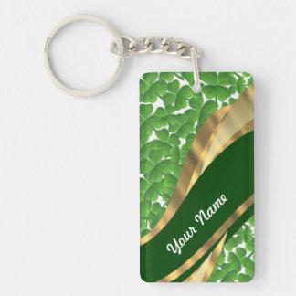 Motif vert de shamrock porte-clé rectangulaire en acrylique double face