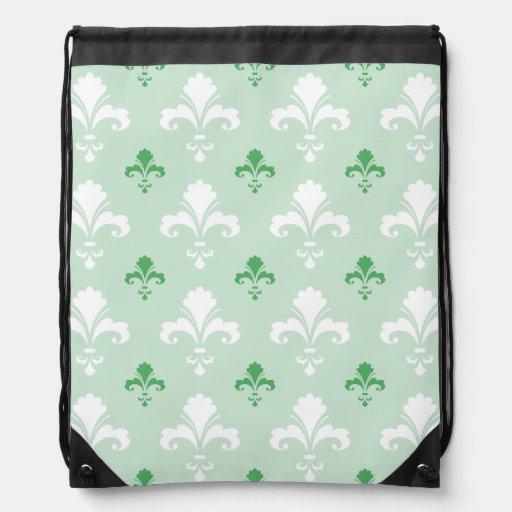 Motif vert Fleur-De-lis et blanc Sac Avec Cordons