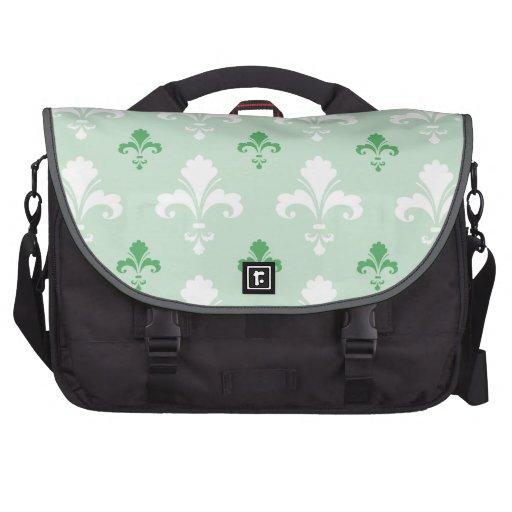 Motif vert Fleur-De-lis et blanc Sacoche Pour Ordinateur Portable