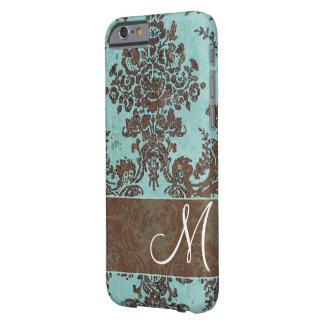 Motif vintage de damassé avec le monogramme coque barely there iPhone 6