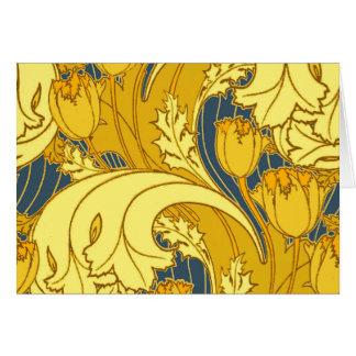 Motif vintage de tulipe de bleu et d'or carte de vœux