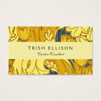 Motif vintage de tulipe de bleu et d'or cartes de visite